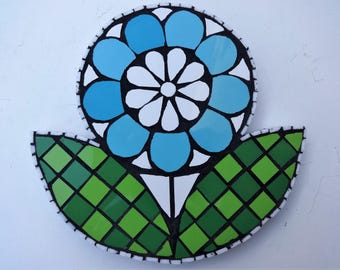 Mosaic Art, Turquoise Flower, Mosaic Wall Art, Mosaic