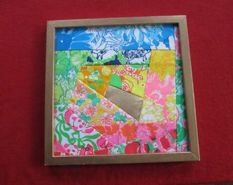 Lilly Pulitzer Quilted Wall Hanging; Wall hanging Lilly Pulitzer fabric; Fabric Lilly Pulitzer wall hanging