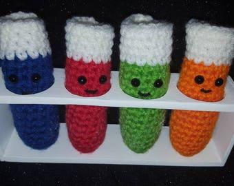 Small Crochet Chemistry Test Tube Set                      Crochet Lab Set