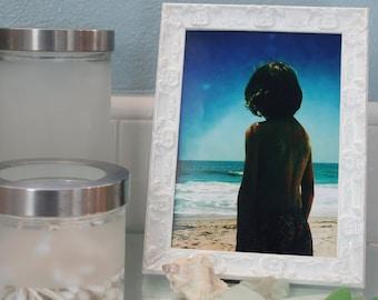 Shabby Chic White Picture Frames- White Lacquered Picture Frame-  4x4, 4x6, 5x5,5x7, 8x8, 8x10, 10x10, 8.5x11,11x14