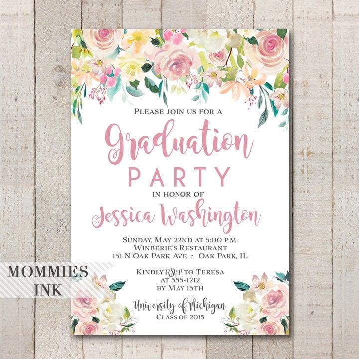 Graduation Party Invitation Watercolor Flowers Invitation