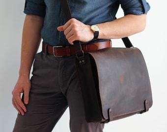 Brown Laptop Bag, Laptop Bag, Brown Leather Shoulder Bag, Leather Shoulder Bag, Leather Messenger Bag, Personalized Leather Bag, Brown Bag