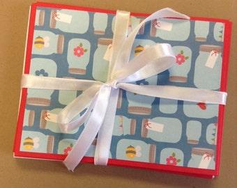 Mason Jar Cards, Kitchen Cards, Jar Notecards, Mason Jar Notes,  Mason Jar Stationery, Kitchen Stationery