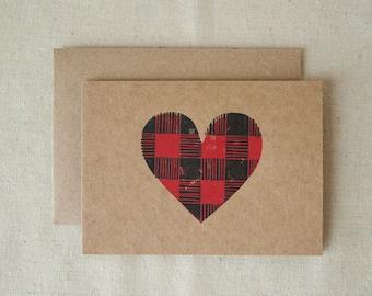 JUST BECAUSE CARD – I Love You Card - Buffalo Plaid, Plaid Heart, Linocut Stamp Greeting Card