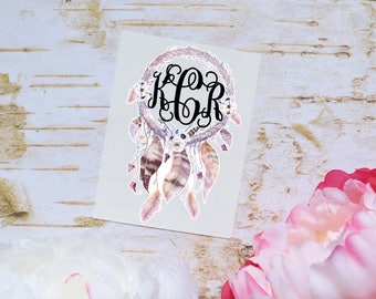 Dream Catcher Monogram Decal, Glossy and Glitter Monogram Sticker, Tumbler Decal, Printed Decal, Dream catcher floral decal