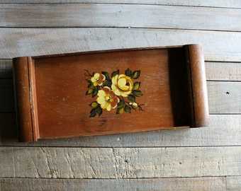 Vintage Wooden Tray with Yellow Roses