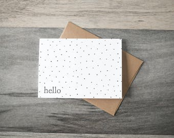 Hello - simple dots - Friendship Card - Thinking of You Card
