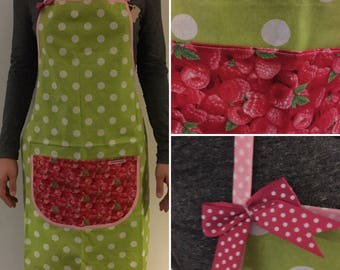 Green adult apron with polka dots