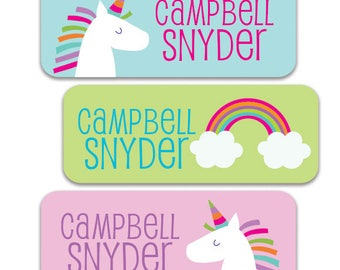 Waterproof Name Labels for School, Daycare, Camp  Personalized Name Labels for Girls, Unicorn Rainbow Design, Unicorn Stickers