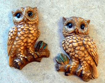 Pair of  Retro Chalkware Owls Wall Decor 1970s