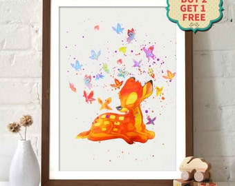 Disney Movie Poster - Bambi Watercolor Poster