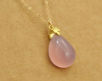 gold filled rain drop necklace with soft pink hue agate drop, RAINING DAY, teardrop necklace, rain drop,  soft agate stone, teardrop,