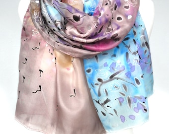Hand Painted Silk Scarf Painting. Anniversary Birthday Gift for Her. Colorful Shawl. Genuine Silk Art. Bridal Gift. 18x71in MADE to ORDER