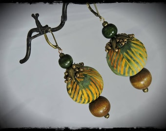 SOLD - Earrings - camping - multicolored fabric with dominant green and ochre - metallic beads bronze and wood