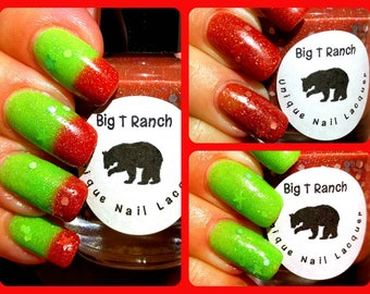 Christmas Color Changing Thermal Nail Polish - Jingle Bells - Red/Green - FREE U.S. SHIPPING
