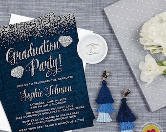 Denim & Diamonds Graduation Party Invitations - Printed Graduation Party Invitation - Jeans and Jewels Invitations - Blue and  Silver Invite