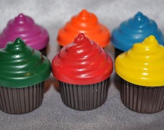 Cupcake Shaped Recycled Crayons, Total of 6 Cupcake Crayons.  Boy or Girl Kids Unique Party Favors, Crayons.