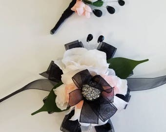 Barely Blush and Black Wrist Corsage With Matching Boutonniere READY To SHIP Prom Set Artificial Flowers