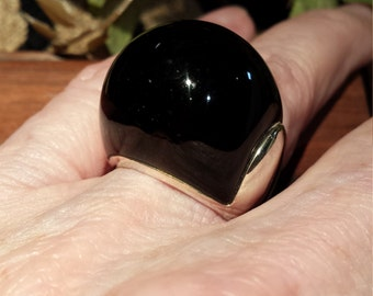 Sterling silver black onyx dome designer ring