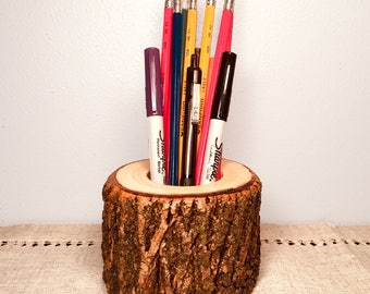 Wood Pen and Pencil Holder, Natural Tree Wood Office Organizer, Wooden Pen and Pencil Cup Holder, Rustic Office Accessories, Gifts Under 20