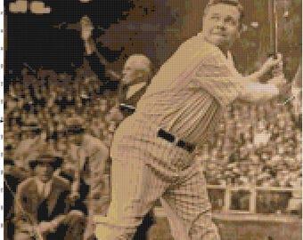 Vintage Babe Ruth Photo Cross Stitch Pattern PDF