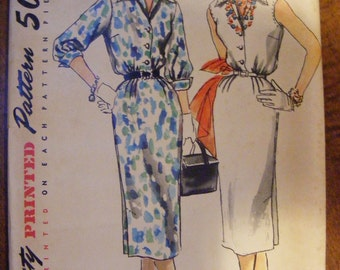 """1955 Misses' One Piece Dress Mid Century Simplicity Sewing Pattern 1114 Uncut Size 14 Bust 32"""""""