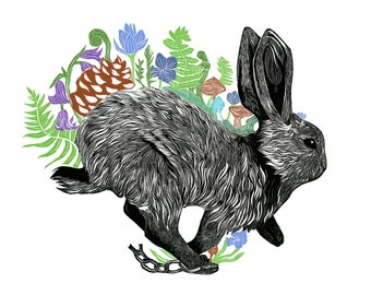 Rabbit - A3 Linocut Illustration Block Print, Bunny, Flowers, Nature 11x16