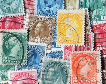 FREE SHIPPING ; 25 different old used vintage / antique Canada Postage Stamps from the late 1800's  till the 1930's .