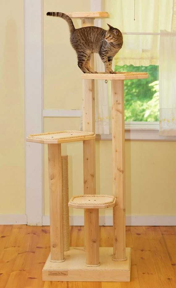 Brand-new Solid Wood Cat Tree Six Foot Four Level Cat Tree with Sisal TF57