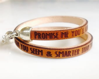 Braver, Stronger, Smarter & loved more than you'll ever know... Double wrap bracelet  by A. A. Milne from Winnie the Pooh.  Gift for her