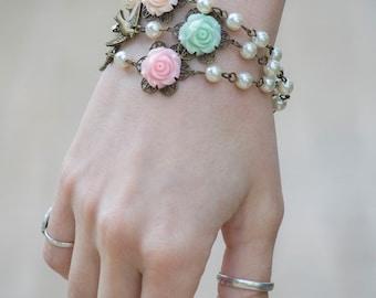Bridesmaids Bracelet, Bridesmaids Gift, Baptism Jewelry, Flower Girl Bracelet, Pearl Bracelet, Shabby Chic Jewelry, Bridal Jewelry