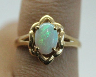 Opal 14k Gold Ring | Thin Gold Ring | Bridesmaids Gift | Yellow Gold Opal Stone Ring | Genuine Opal Stone | Christmas Gift
