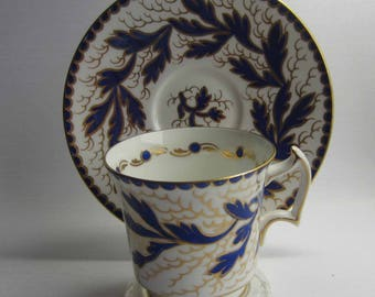 Royal Chelsea 261A/B  Bright Blue with Gold Details Bone China Tea Cup and Saucer