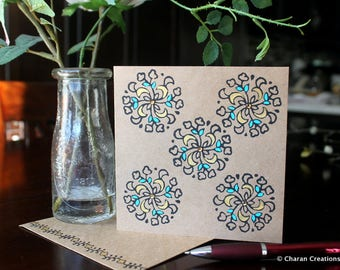 Hand Block Printed Card, Indian Theme Card, Hand Painted Kraft Card