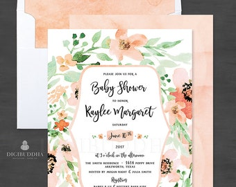 Floral Baby Shower Invitation Custom Baby Shower Invitation Watercolor Flowers Spring Baby Shower Invitations DIY or Printed Invite - Kaylee