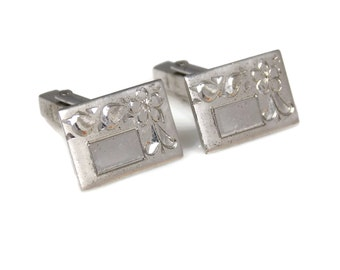 Sterling Silver Unengraved Cuff Links Floral Design Marked MA