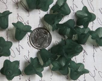 Lucite Flower Beads Dark Green Forest Green Lucite Flower Beads 10 per order about 18mm in diameter,12mm