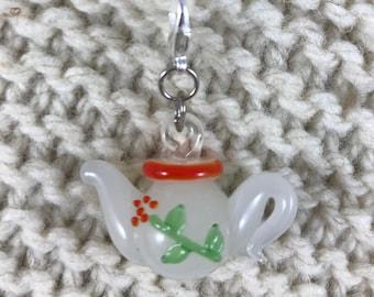 Knitting Crochet Progress Keeper - Fairytale Teapot Stitch Marker - Knit Crochet Charm - Zipper Pull - Garden - Bohemian Cottage