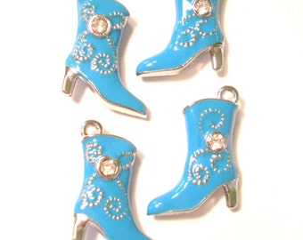 6 Boot charms double sided enameled jeweled divia boot charms 19x16 x6mm (SR)