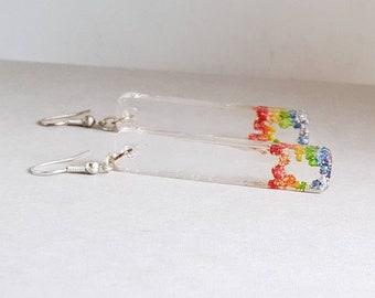 Rainbow earrings, long earrings, gay pride earrings, rainbow jewelry,  pride jewelry, LGBT jewelry, fashion earrings, rectangle earrings,