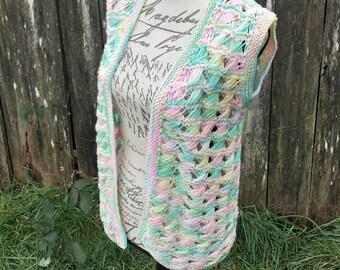 Colored knitted hippy vest/crochet vest/70's vest/70's crochet vest/70's knitted vest/vintage vest/vintage crochet vest/hippy vest