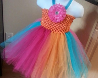 Pink, Orange, and Teal Tutu Dress