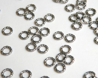 25 Fancy Twisted jump rings open round antique silver plated brass 6mm 16 gauge 7442FX