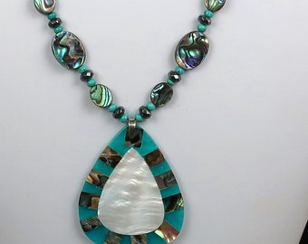 Paua Shell Necklace with Natural Turquoise and Paua/Mother-of-Pearl Shell Pendant ( 15% off Summer Sale)