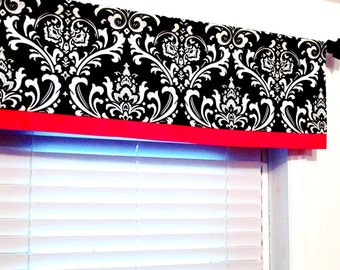 Black and Red Banded Window Valance Damask   Contemporary Modern Curtain  Custom Sizing Available!