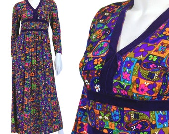 Vintage Clothing, Boho Maxi Dress XS, 70s Patchwork Dress, Maxi Dress, Kitsch Dress, Hippie Dress, Purple Dress, Long Sleeve Dress, SIZE XS