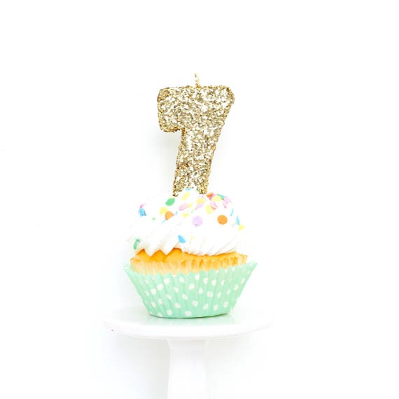"""3"""" Number 7 Candle, Giant 7 Candle, Gold Birthday, Gold Candle, Gold Birthday Candle, Glitter Party Decor, Gold Party"""