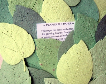120 Seed Paper Green Leaves - Large Size - Plantable Paper Leaf Wedding Favor - DIY Place Cards - Flower Seed Birch Leaves