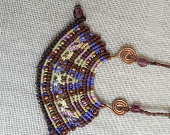 Micro macrame necklace- brown and purple wax thread beaded on a hand forged Copper spiral