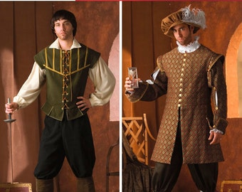 4059 Simplicity men's renaissance costumes, Historical Costumes, English Renaissance, Royal King, Doublet, Shirt, Pants, Men's cosplay